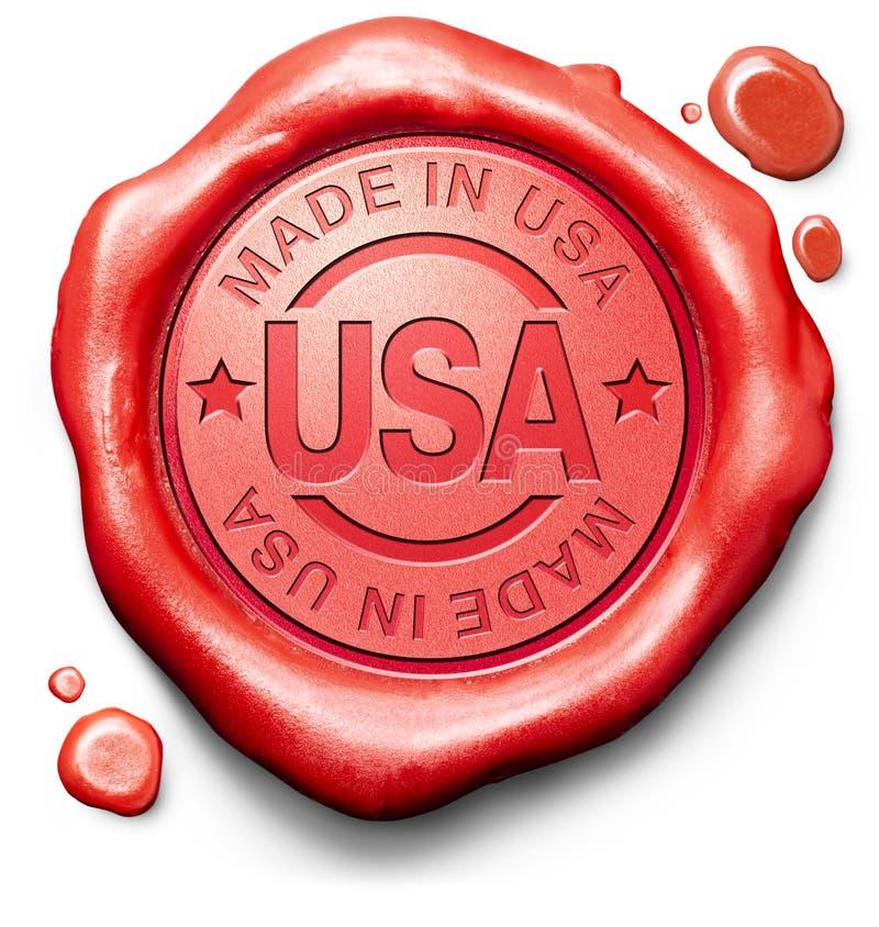 Gjort i USA den kvalitets- etiketten stock illustrationer