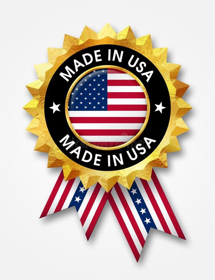 Gjort i USA-emblem stock illustrationer