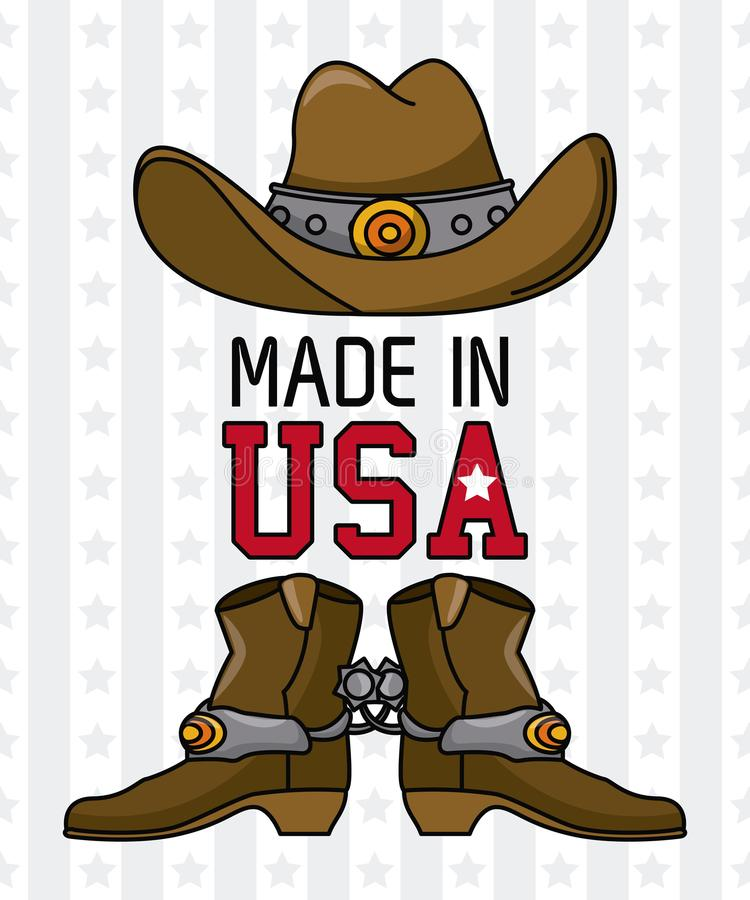 Gjort i USA emblemet royaltyfri illustrationer