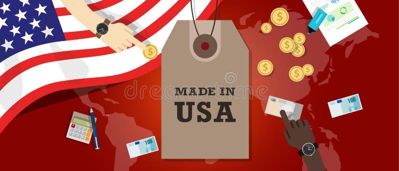Gjort i USA emblemet skriftligt på en etikettetikett med den patriotiska flaggan stock illustrationer