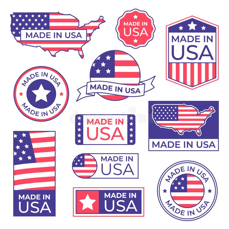 Gjort i USA etiketten Isolerade den stolta stämpeln för amerikanska flaggan som gjordes för USA-etiketter symbol och tillverkning royaltyfri illustrationer