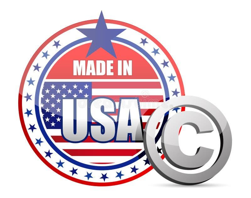Gjort i USA flaggaskyddsremsa med copyright-tecknet royaltyfri illustrationer