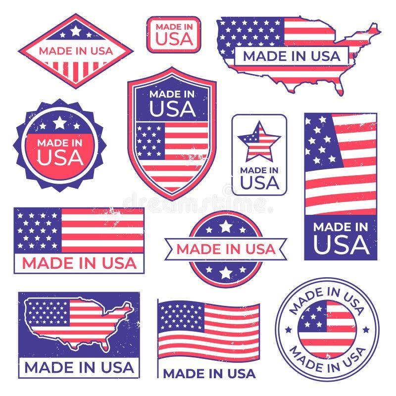 Gjort i USA logoen Den amerikanska stolta patriotetiketten, tillverkning för USA märker den patriotiska stämpeln och USA vektor illustrationer