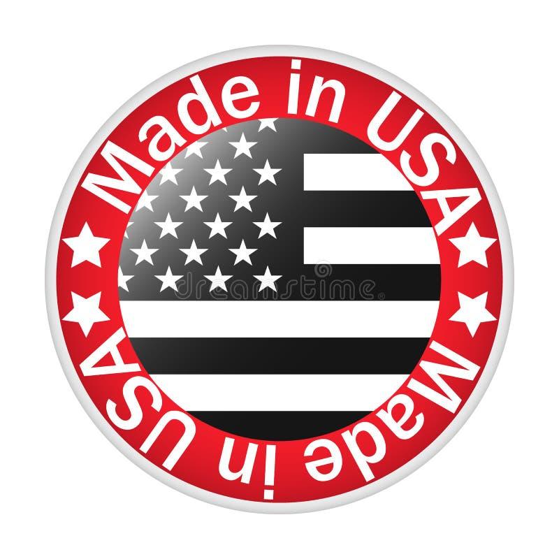 Gjort i USA - sköld royaltyfri illustrationer