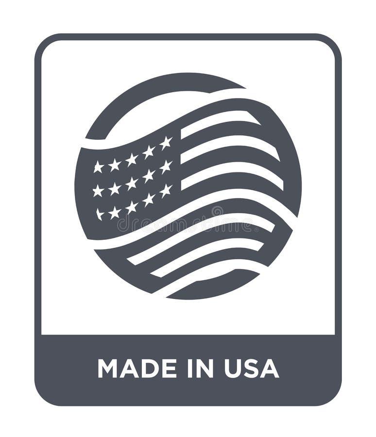 gjort i USA-symbol i moderiktig designstil gjort i den isolerade USA-symbolen på vit bakgrund gjort i USA-vektorsymbol enkelt och royaltyfri illustrationer