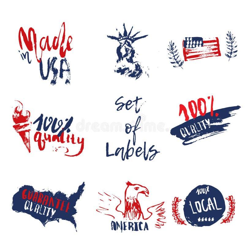 Gjort i USA uppsättningen av drog etiketter för grunge hand med amerikanska flaggan, staty av frihet stock illustrationer