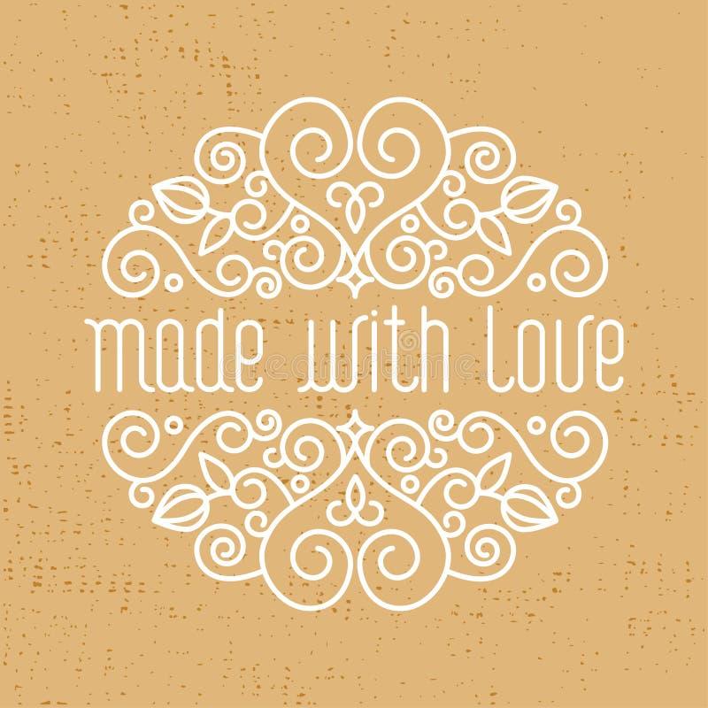 gjort med den dekorativa beståndsdelen för förälskelse, emblem royaltyfri illustrationer