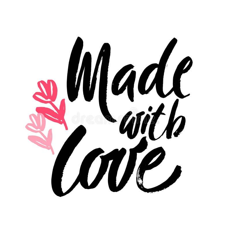 Gjort med den handskrivna inskriften för förälskelse Hand dragit bokstävercitationstecken Gjort med förälskelsekalligrafi Gjort m royaltyfri illustrationer