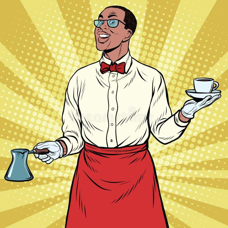 Gjort nytt malt kaffe för afrikansk amerikan Barista vektor illustrationer