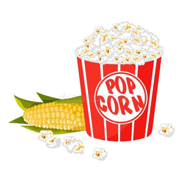Gjort randig popcorn i badar på vit bakgrund royaltyfri illustrationer