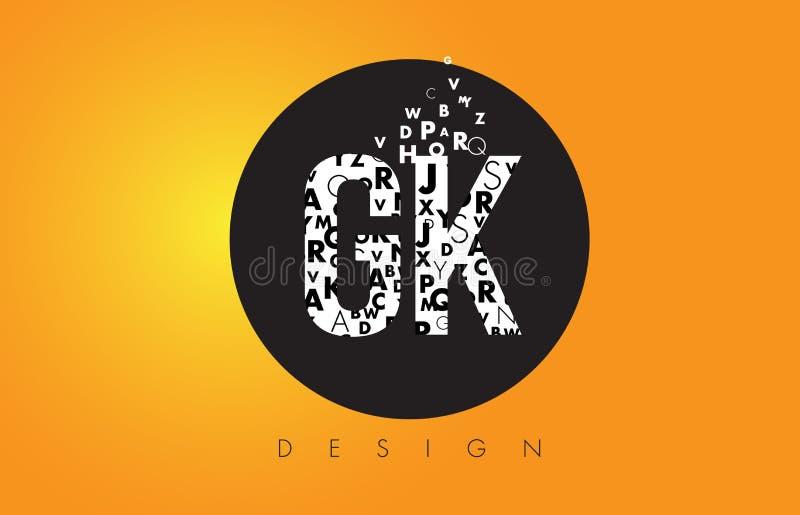 GK G K Logo Made de letras pequenas com círculo preto e o B amarelo ilustração royalty free