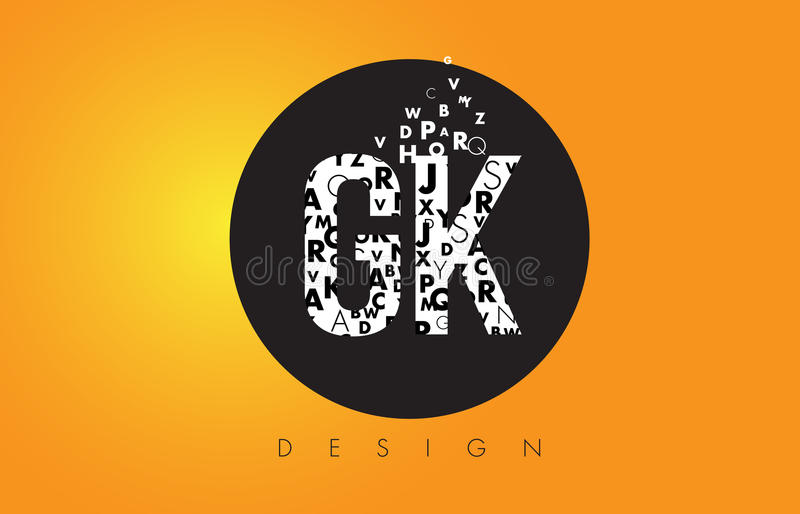 GK G K Logo Made of Small Letters with Black Circle and Yellow B royalty free illustration