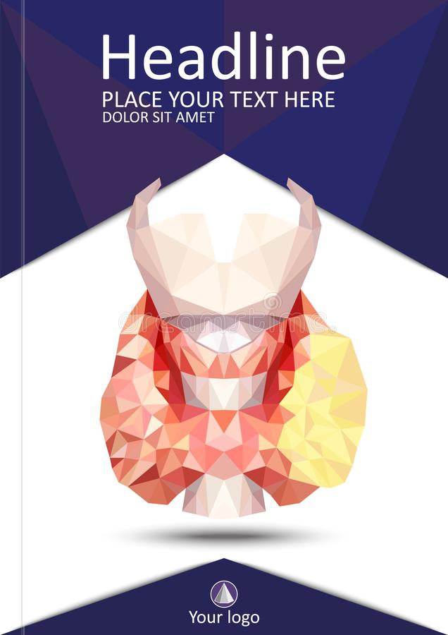Glândula de tiroide realística em baixo poli 3d tiroide humano, glândula, la ilustração royalty free