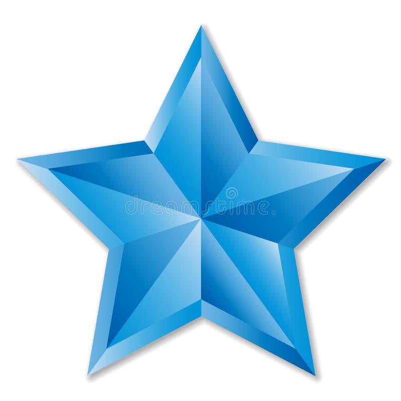 Glänzender blauer Stern im weißen Hintergrund stock abbildung