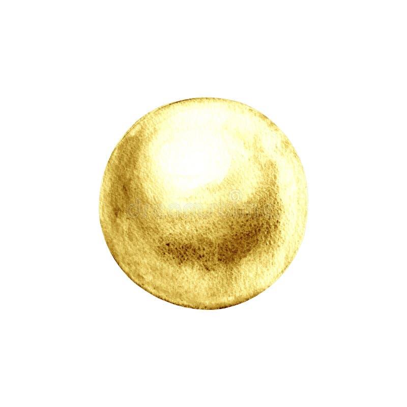 Glänzendes Goldenes der Perlenperle lokalisiert auf weißem Hintergrund stock abbildung