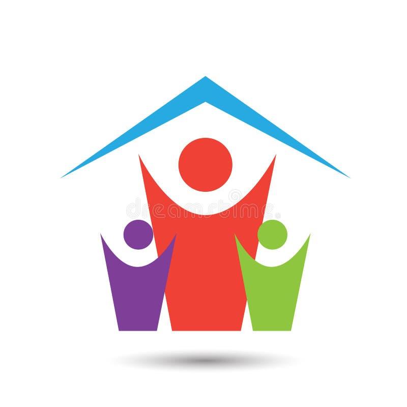 Glückliche Familienhauslogoikone auf weißem Hintergrund lizenzfreie abbildung