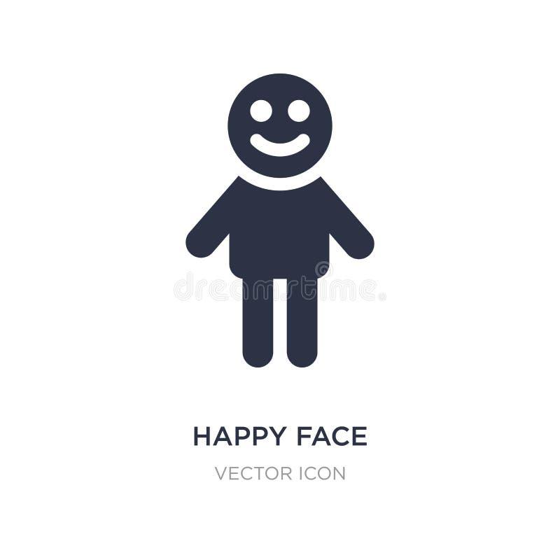 glückliche Gesichtsikone auf weißem Hintergrund Einfache Elementillustration vom Leutekonzept vektor abbildung