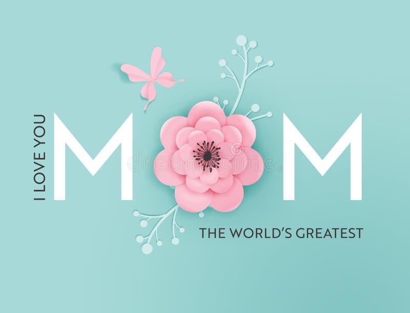 Glückliche Mutter-Tagesfeiertags-Fahne Mutter-Tagesgruß-Karten-hallo Frühlings-Papier-Schnitt-Entwurf mit Blumen und Schmetterlin lizenzfreie abbildung