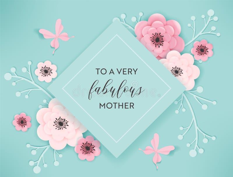 Glückliche Mutter-Tagesfeiertags-Fahne Mutter-Tagesgruß-Karten-hallo Frühlings-Papier-Schnitt-Entwurf mit Blumen und Schmetterlin stock abbildung
