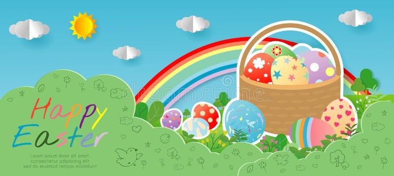 Glückliche Ostern-Grußkarte mit Ei und Blumen auf Hintergrund des blauen Himmels Ostern-Fahnenschablone, Papierschnitt und Handwe vektor abbildung