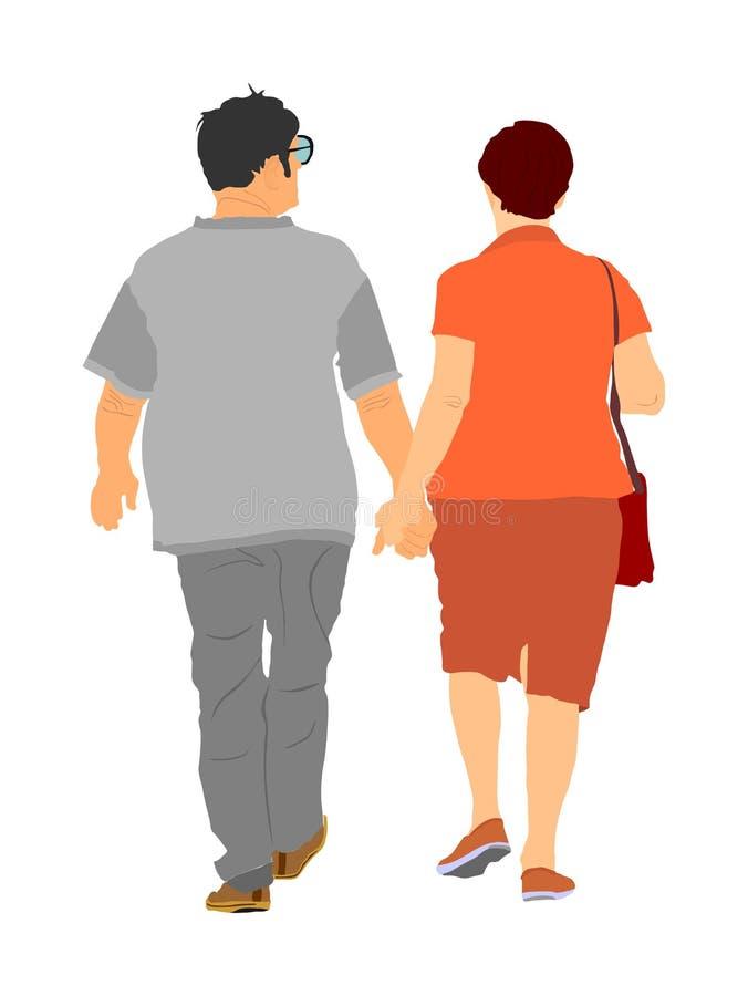 Glücklicher älterer Seniorpaargriff-Handvektor Reifes Coupé in der Liebe zusammen auf weißem Hintergrund Großmutter und Großvater vektor abbildung
