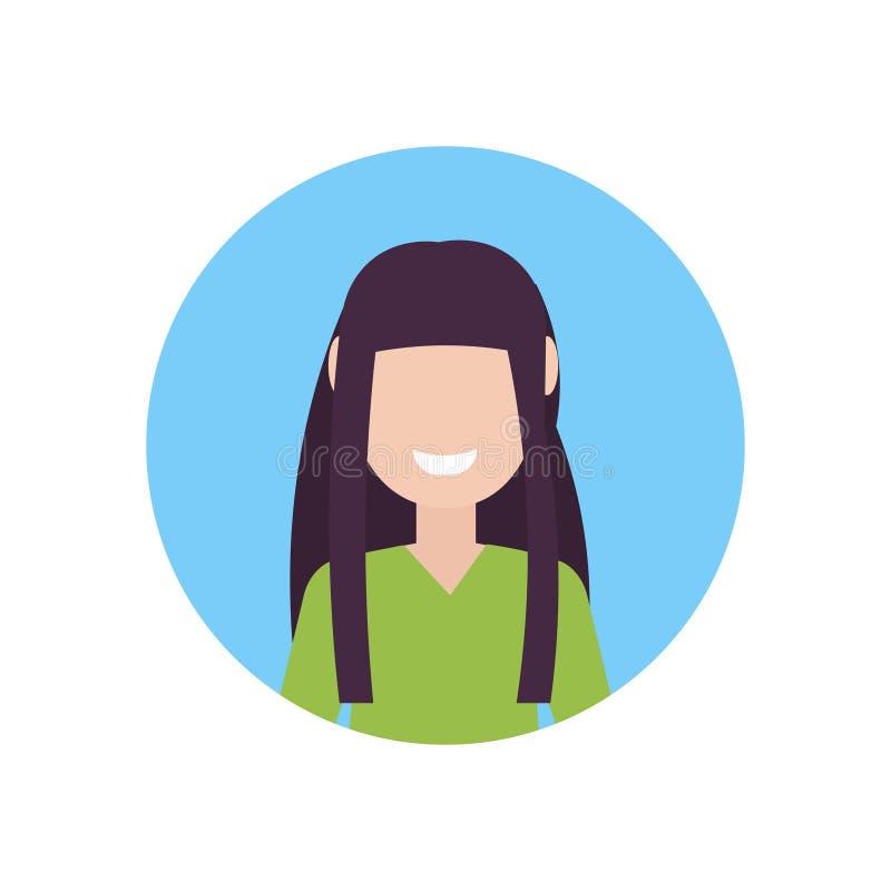 Glücklicher brunette Mädchengesichtsavatara wenig flacher weißer Hintergrund Kinderdes weiblichen Zeichentrickfilm-Figur-Porträts stock abbildung