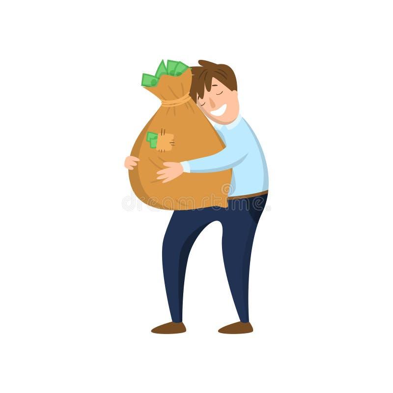 Glücklicher Geschäftsmann, der Tasche des Geldes mit Vergnügen lokalisiert auf weißem Hintergrund umarmt stock abbildung