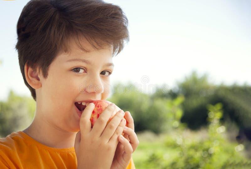 Glücklicher Junge, der den Apfel, a-Kind mit einer Frucht beißt Kind, das frische Birne isst lizenzfreie stockbilder