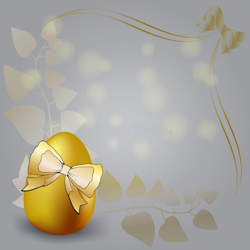 Glücklicher Ostern-Hintergrund mit realistischer goldener Glanz verzierten Eiern und Konfettis Vektorillustrations-Grußkarte, Anz stock abbildung