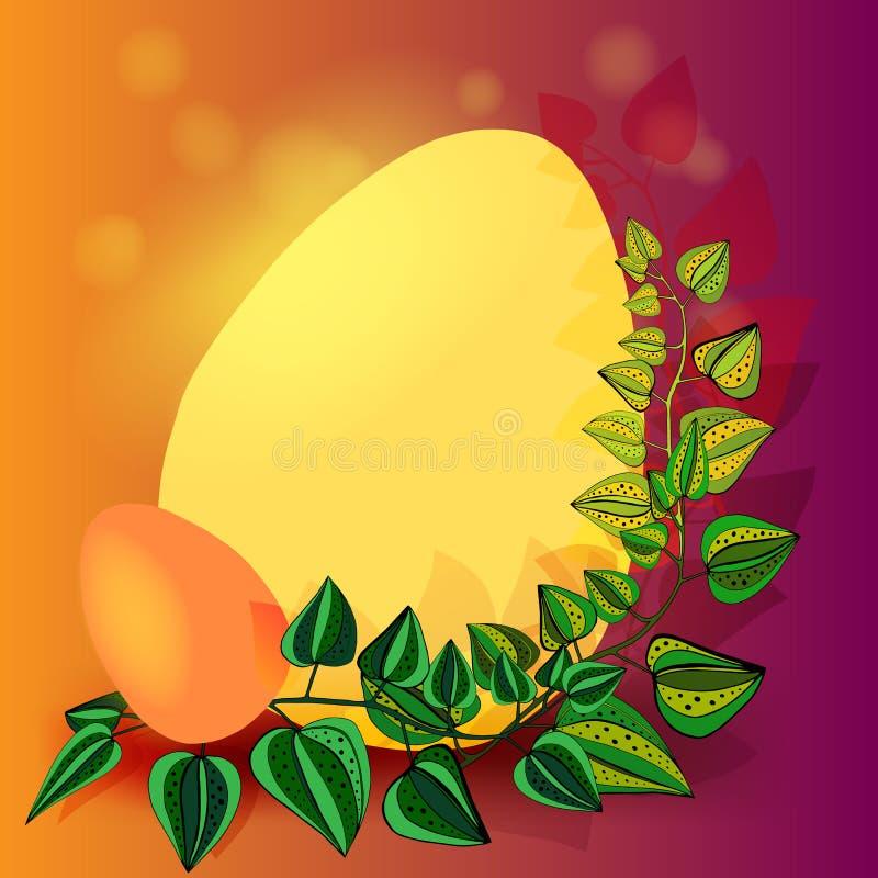 Glücklicher Ostern-Hintergrund mit realistischer goldener Glanz verzierten Eiern und Konfettis Vektorillustrations-Grußkarte, Anz lizenzfreie abbildung
