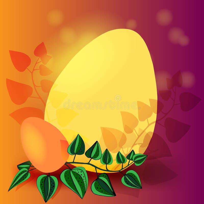 Glücklicher Ostern-Hintergrund mit realistischer goldener Glanz verzierten Eiern und Konfettis Vektorillustrations-Grußkarte, Anz vektor abbildung
