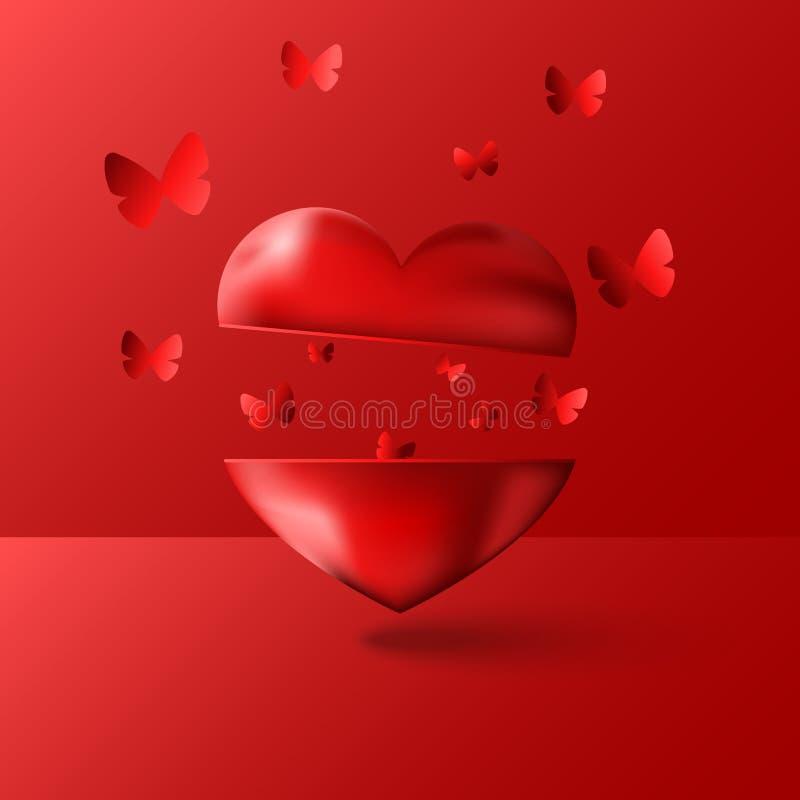 Glücklicher Valentinsgruß ist Tagesgrußkarte ist- eine leere Liebesinstallations-Vektorillustration des Modells 3D, viele Schmett vektor abbildung