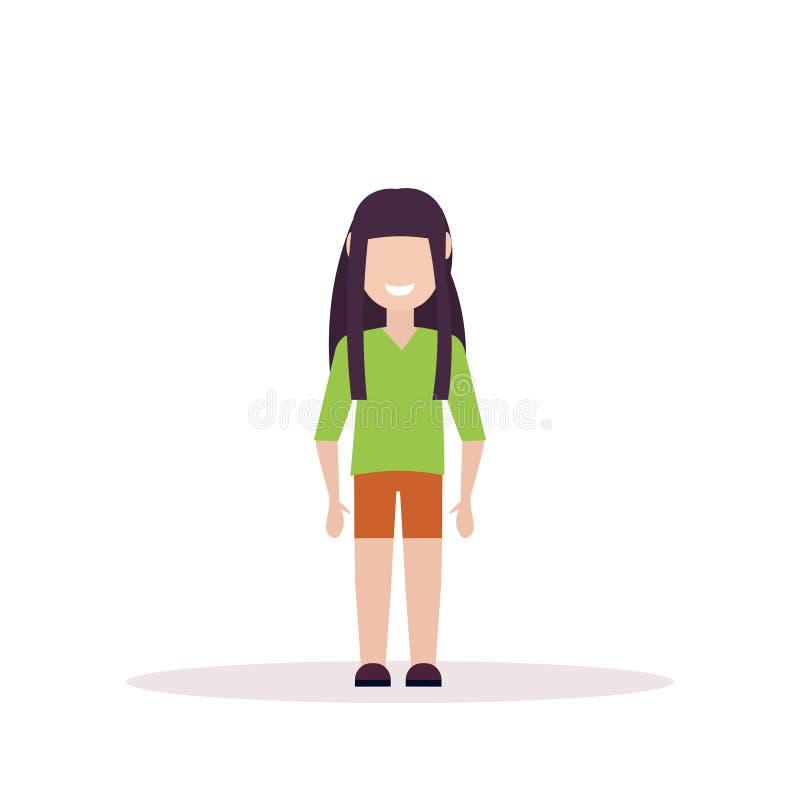 Glückliches brunette stehendes Mädchen, wenig flachen weißen Hintergrund der Kinderweiblichen Zeichentrickfilm-Figur aufzuwerfen  vektor abbildung