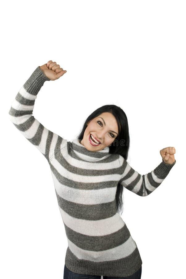 glädjande lycklig kvinna arkivbild