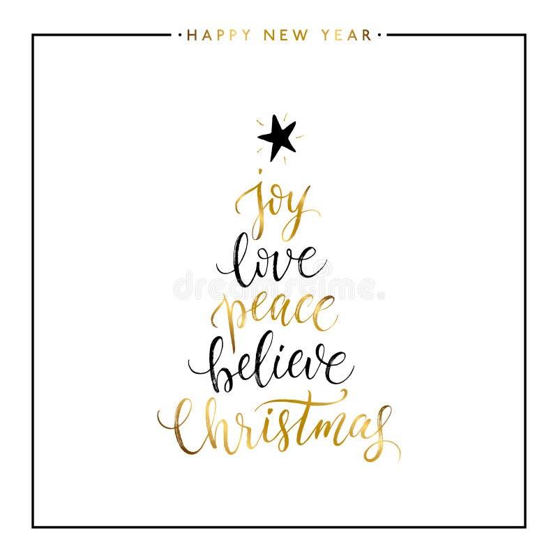 Glädje förälskelse, fred, tror, isolerad guld- text för jul stock illustrationer