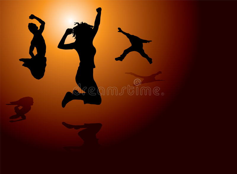 glädje hoppar stock illustrationer