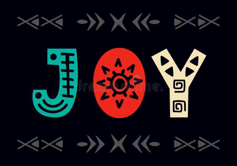 glädje kortjul som greeting Skandinavisk etikett för stilhandbokstäver vektor illustrationer