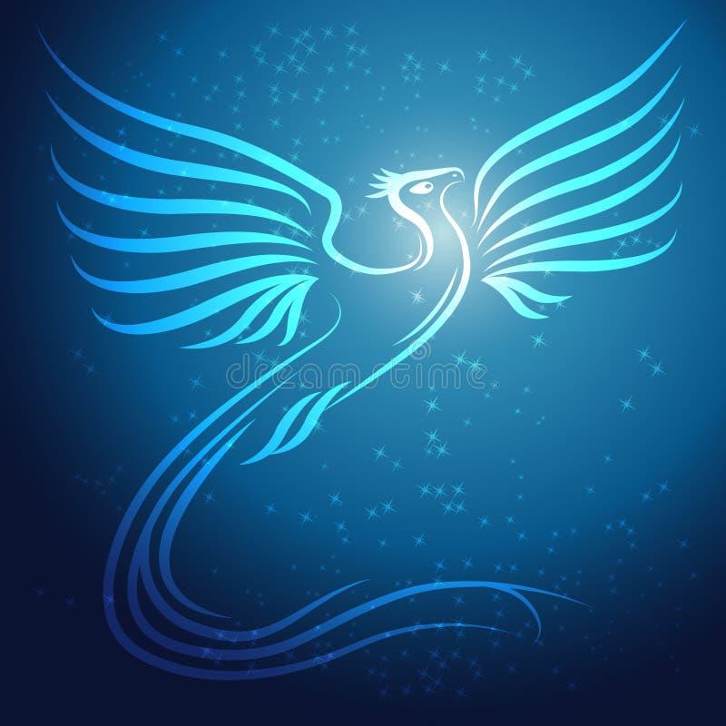 Glänsande abstrakt Phoenix fågel på blå bakgrund w royaltyfri illustrationer