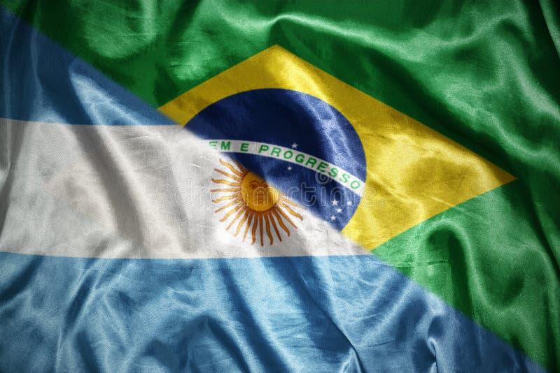 glänsande argentinean flagga vektor illustrationer