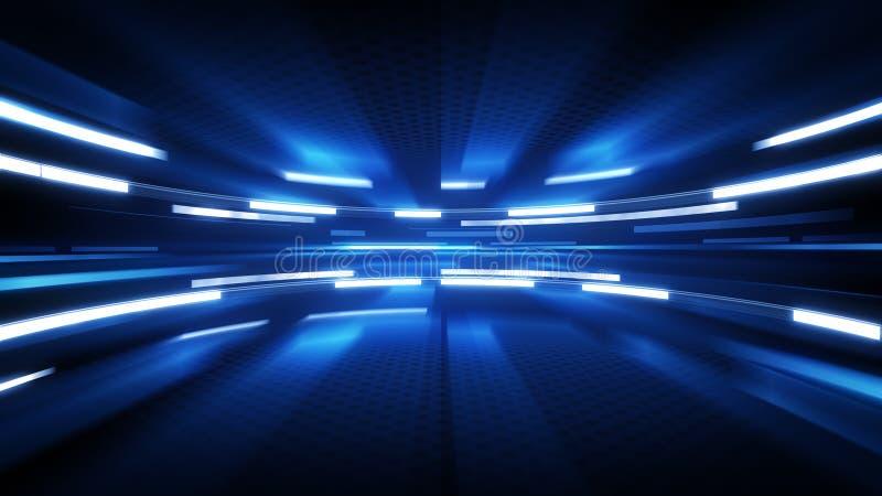 Glänsande bakgrund för blåttglödteknologi stock illustrationer