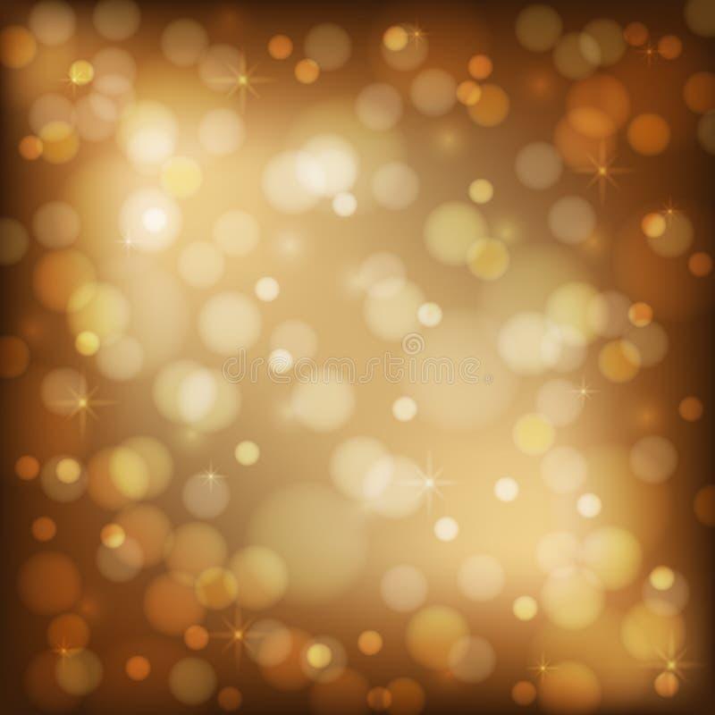Glänsande brun bakgrund med bokeh Ferieljus Guld- boke stock illustrationer
