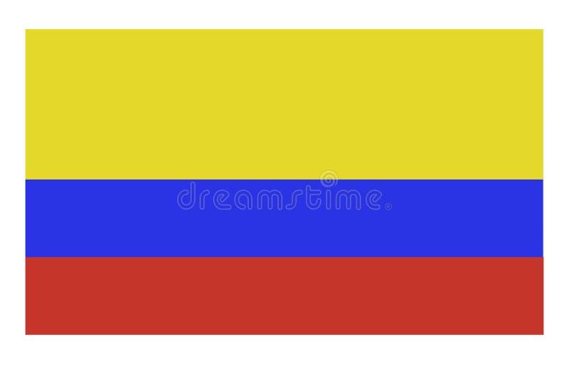 Glänsande colombiansk flagga som vinkar i vinduppsättningen mot en härlig blå himmel stock illustrationer