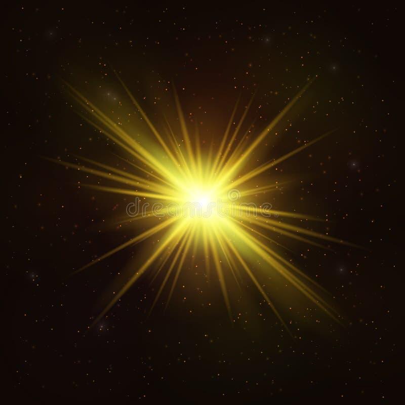 Glänsande guld- stjärna - realistiskt kosmiskt objekt royaltyfri illustrationer