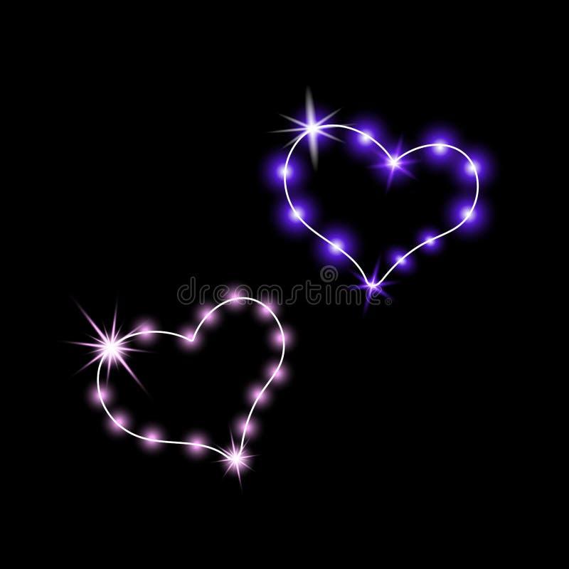 Glänsande hjärtor för teckenstadion för neon ny yankee Retro neontecken som hjärta-är violett på en mörk bakgrund Ordna till för  stock illustrationer