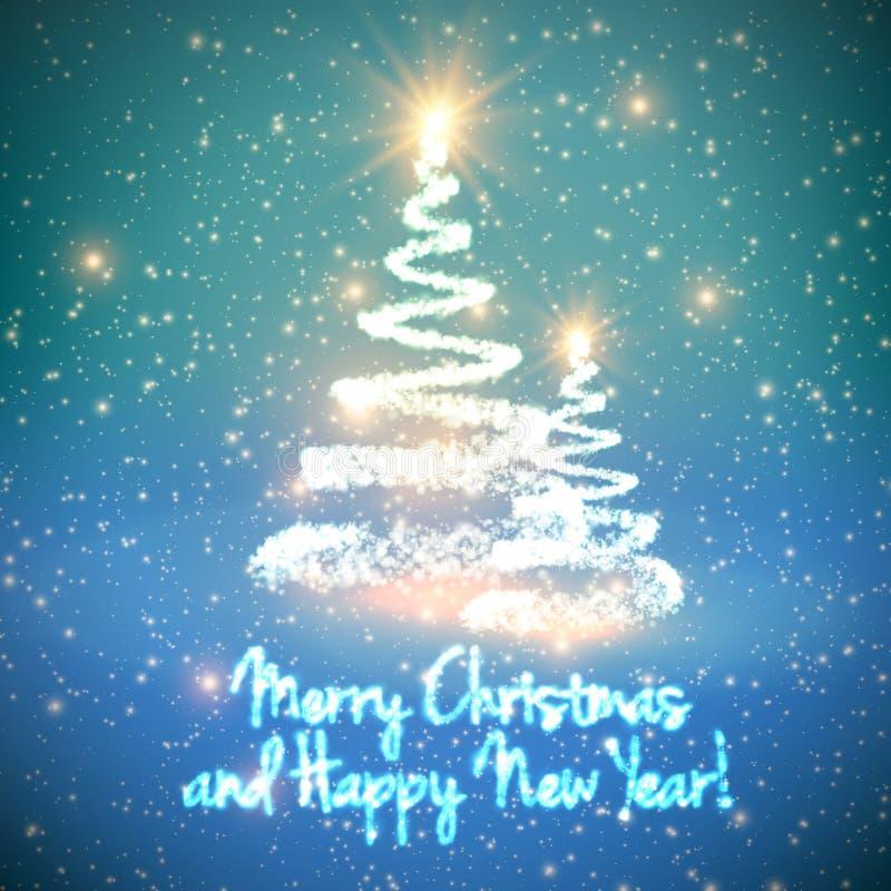 Glänsande julträd på blå bakgrund med panelljuset och glödande partiklar abstrakt bakgrundsvektor vektor illustrationer