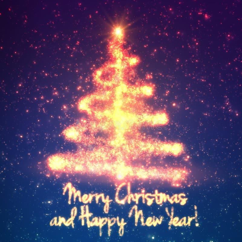 Glänsande julträd på blå bakgrund med panelljuset och glödande partiklar abstrakt bakgrundsvektor stock illustrationer