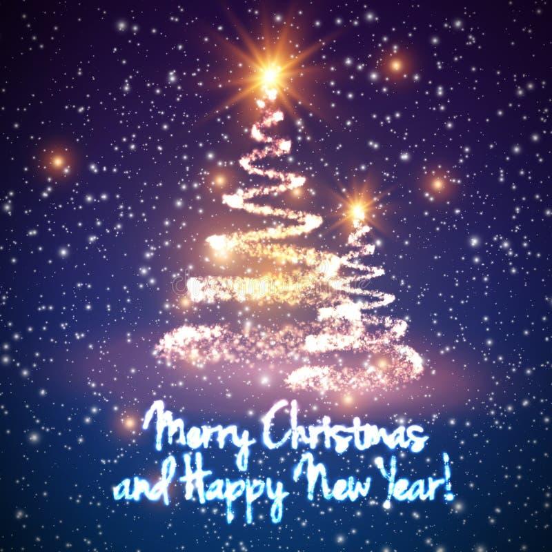 Glänsande julträd på färgrik bakgrund med panelljuset och glödande partiklar abstrakt bakgrundsvektor vektor illustrationer