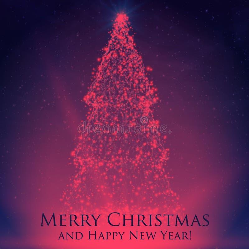 Glänsande julträd på färgrik bakgrund med panelljuset och glödande partiklar abstrakt bakgrundsvektor stock illustrationer
