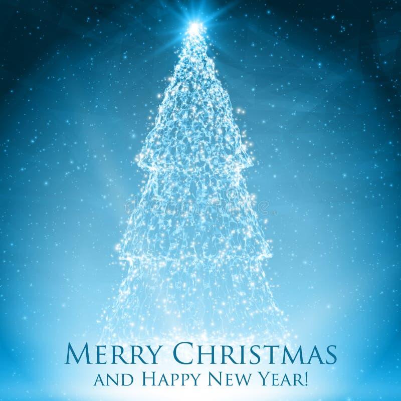 Glänsande julträd på färgrik blå bakgrund med panelljuset och glödande partiklar abstrakt bakgrundsvektor vektor illustrationer
