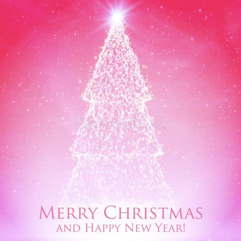 Glänsande julträd på färgrik röd bakgrund med panelljuset och glödande partiklar abstrakt bakgrundsvektor royaltyfri illustrationer